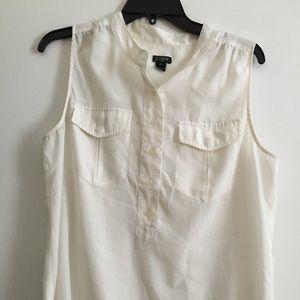Size 10 JCrew Ivory Sleeveless Shirt